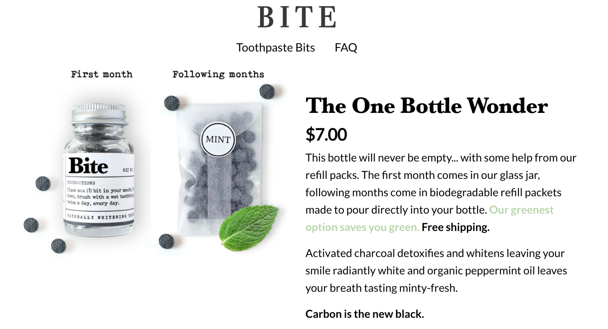 Screenshot showing a product page on Bite