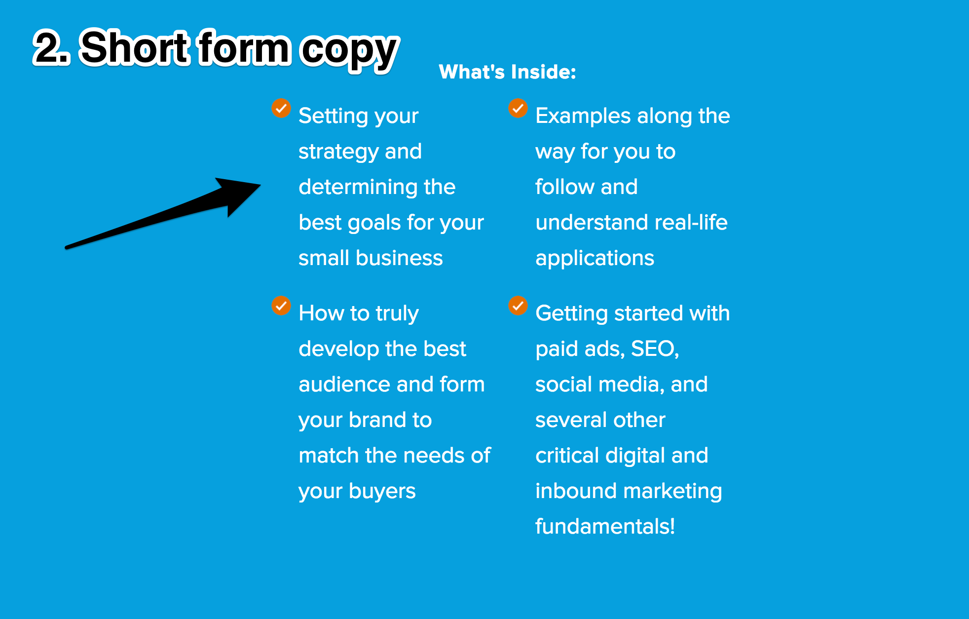 Screenshot showing short form copy by hubspot