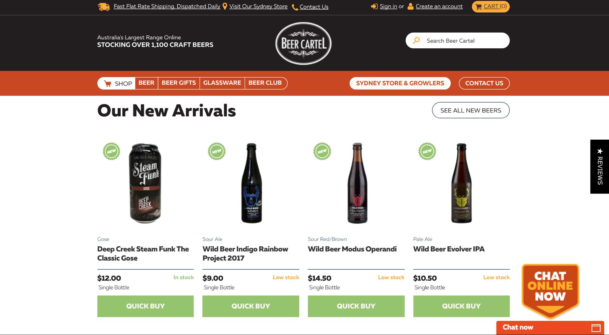 Screenshot showing new arrivals on an online liquor store