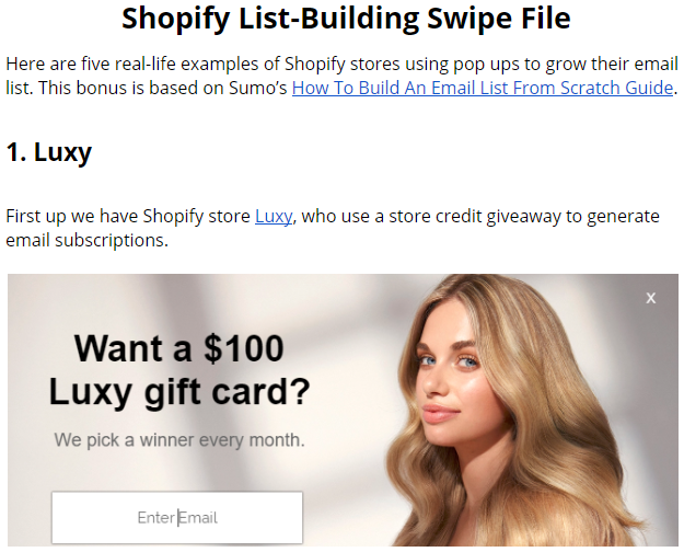 Screenshot showing a swipe file