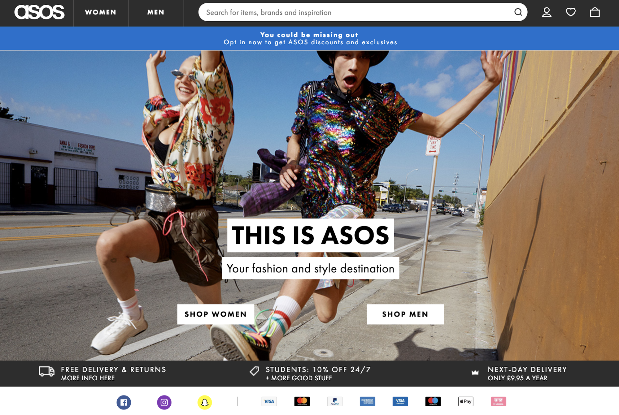 Screenshot showing Asos