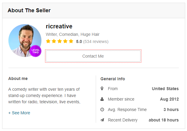 Screenshot showing a profile for a seller
