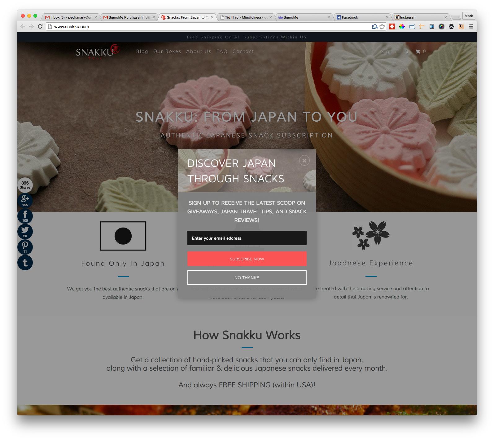 Screenshot showing a Sumo popup