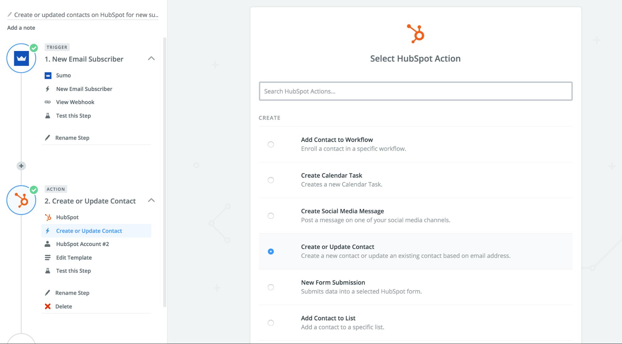 Screenshot showing a zap setup page for Hubspot integration