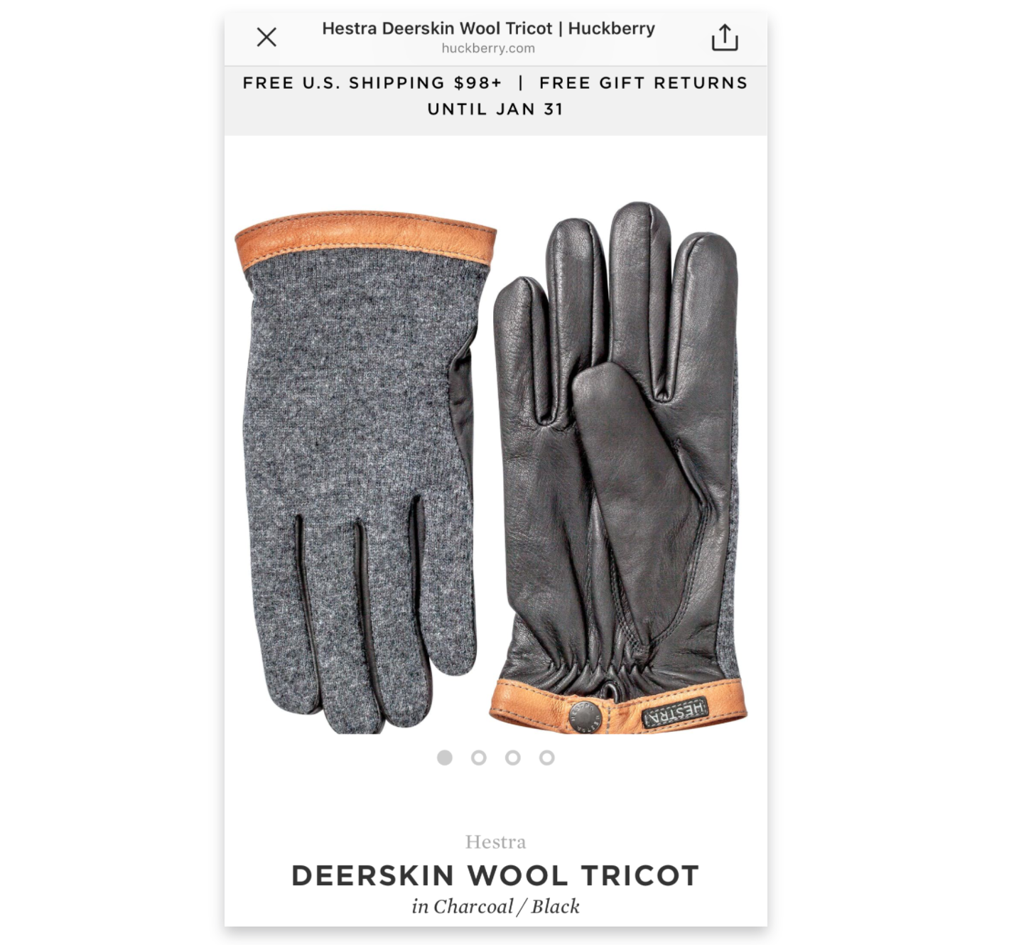 Screenshot showing gloves for sale by Huckberry