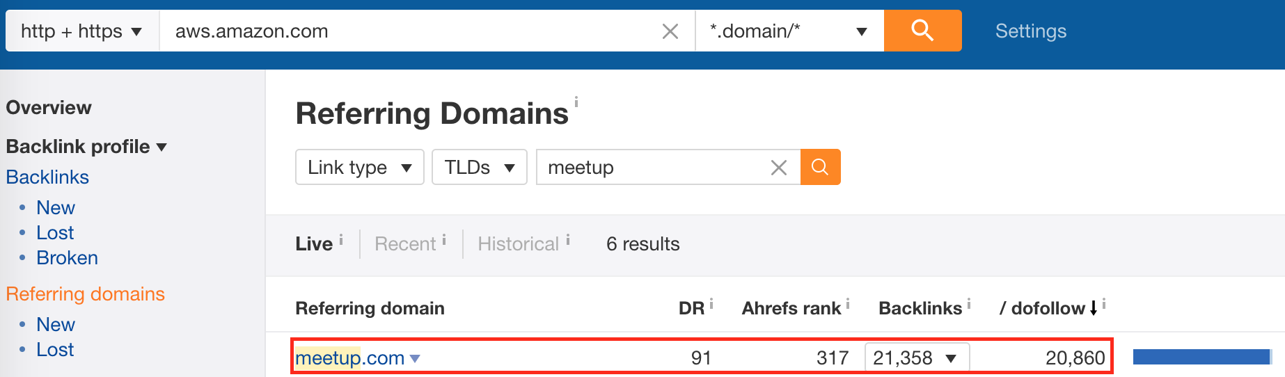 Screenshot showing referring domains to a site