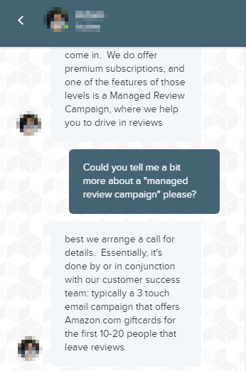 Screenshot showing a conversation about a promotion campaign