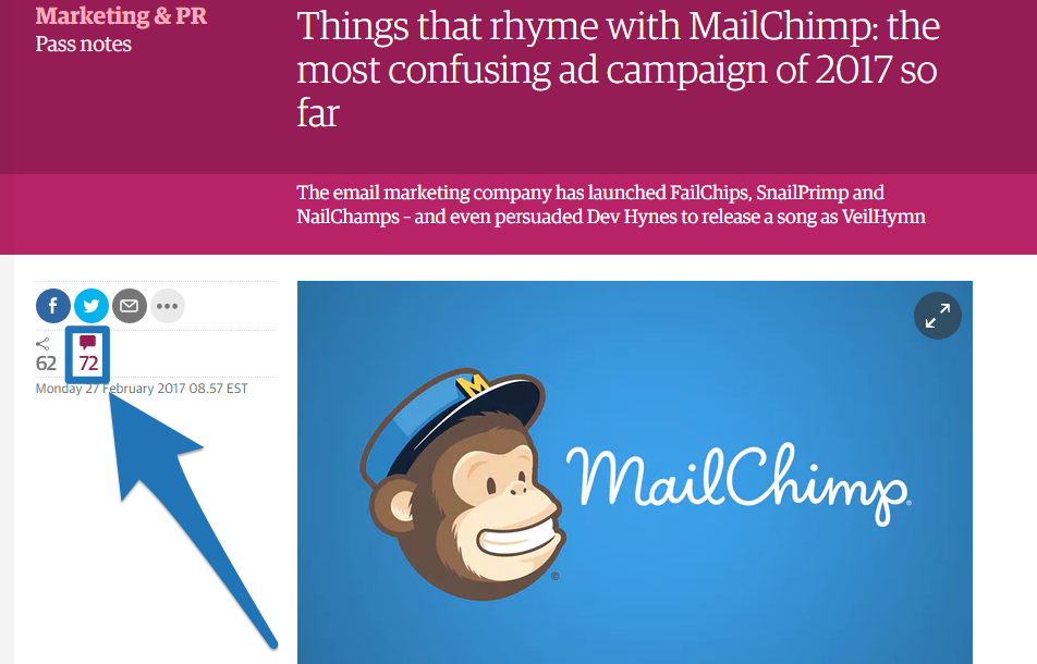Screenshot showing a blog post by mailchimp