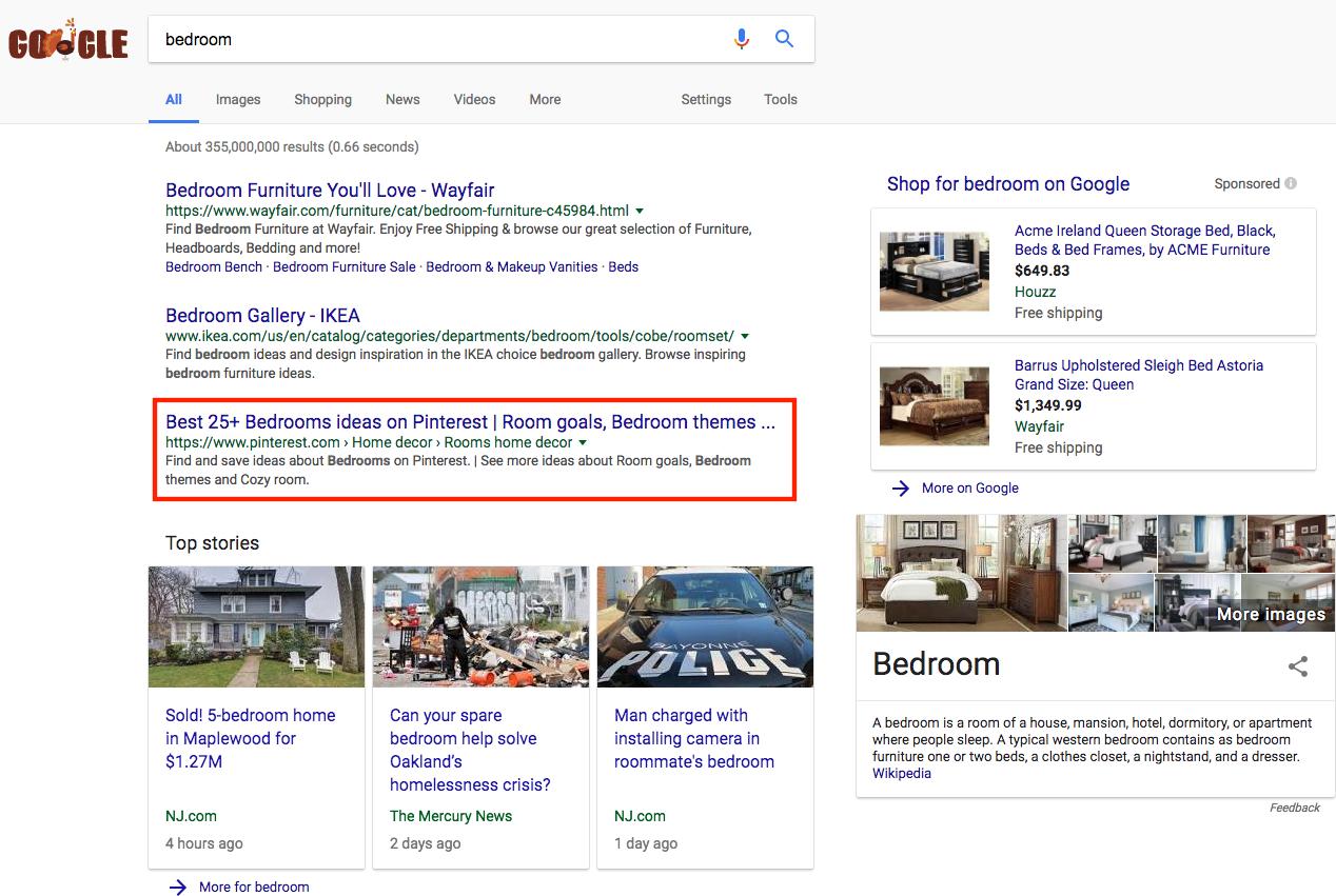 Screenshot showing google results for bedroom