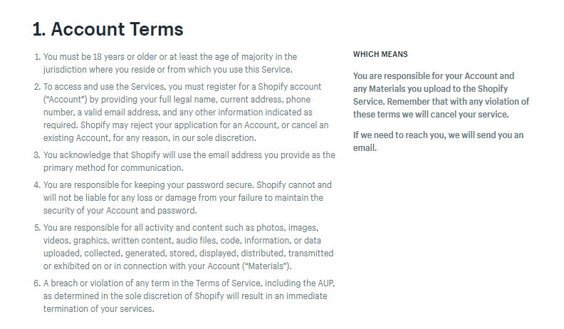 "Screenshot showing the ""Account Terms"" section on shopify"