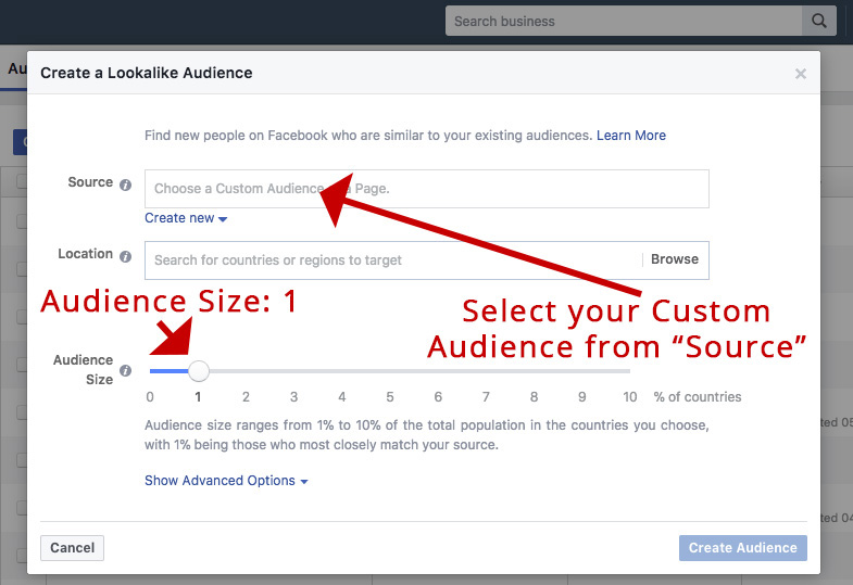 Screenshot showing facebook ads audience creation page