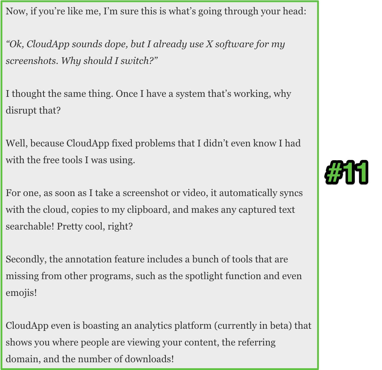 Screenshot showing copy about CloudApp
