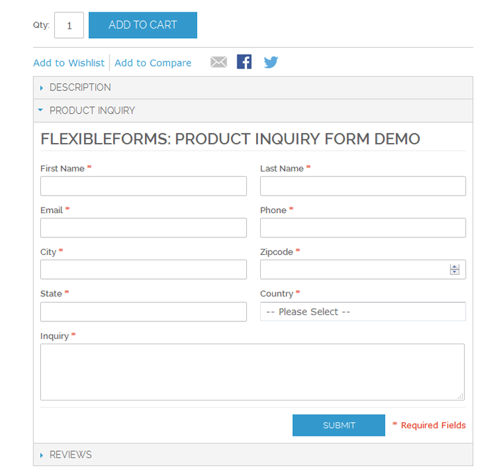 Screenshot showing a product inquiry form