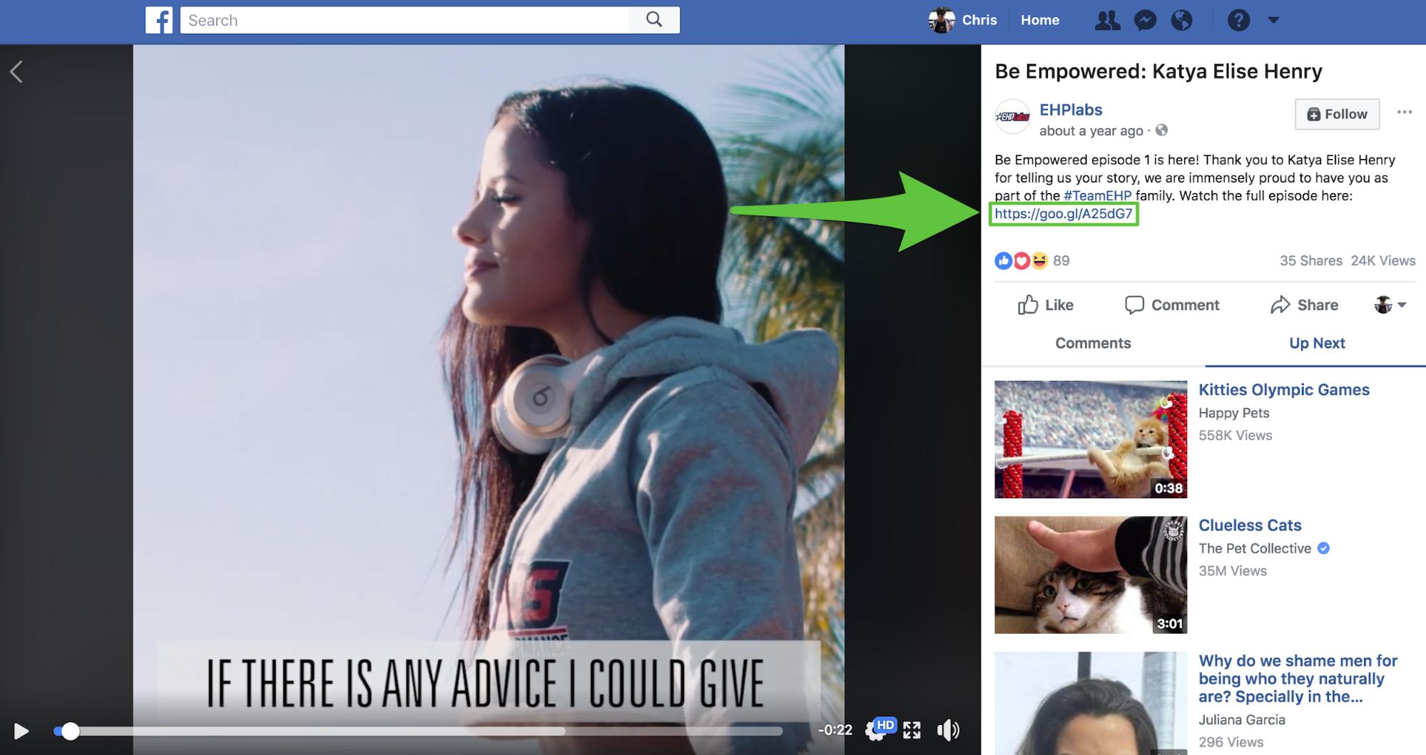 Screenshot showing a Facebook video