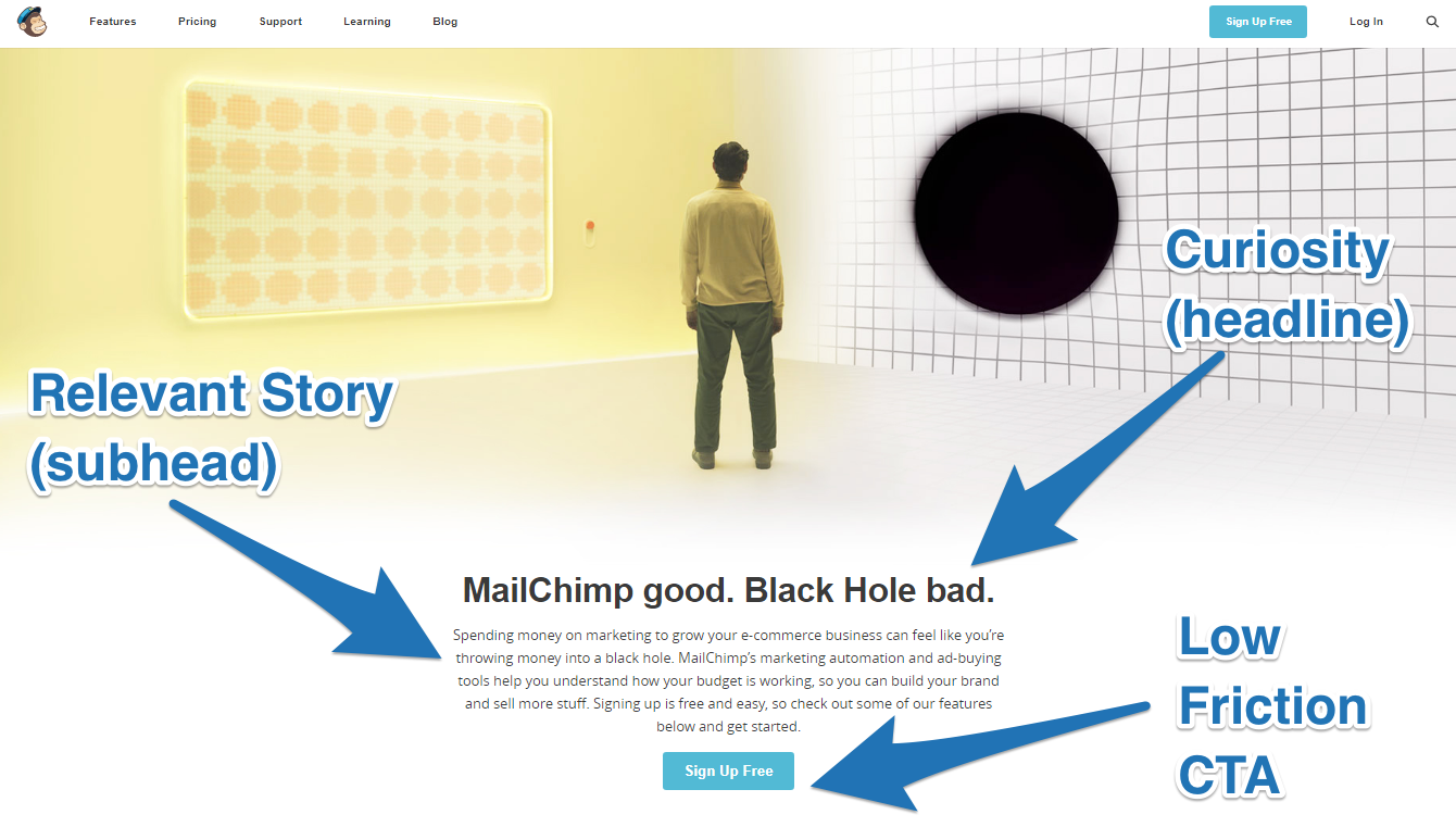 Screenshot showing a story on the mailchimp site