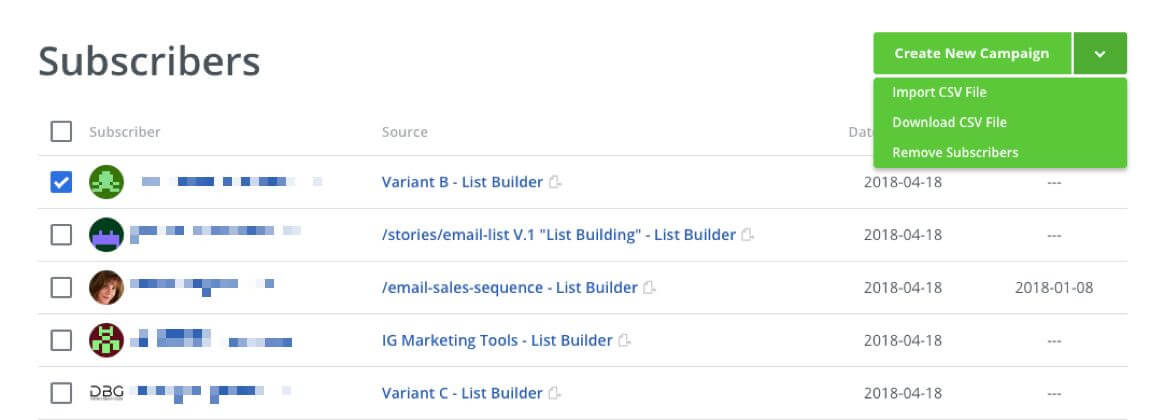 Screenshot showing subscribers list