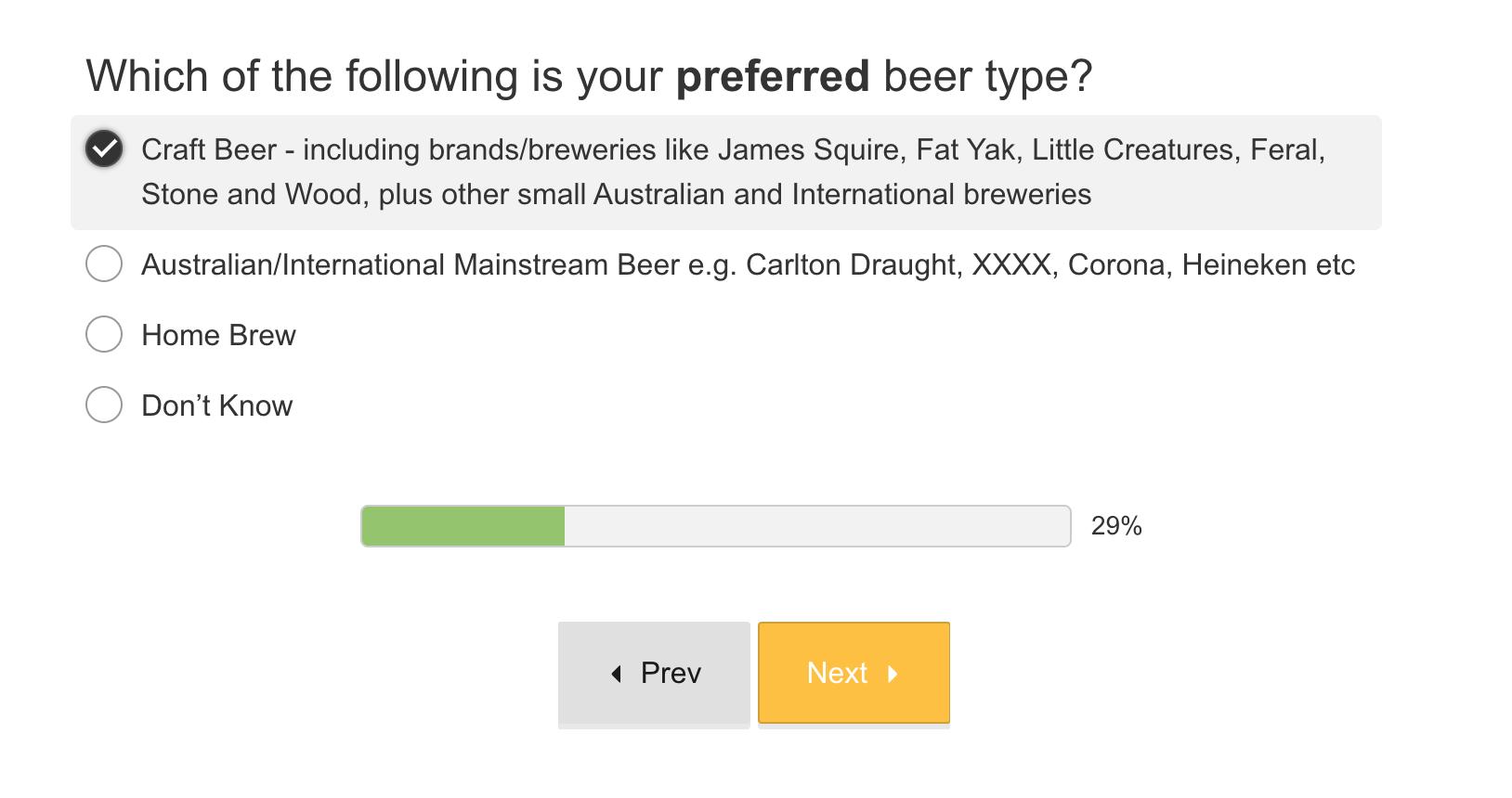 Screenshot showing a quiz question