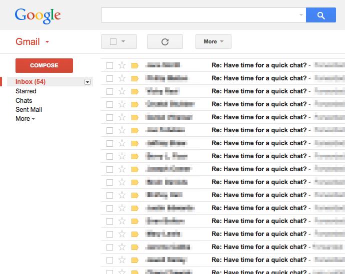 Screenshot showing a gmail inbox