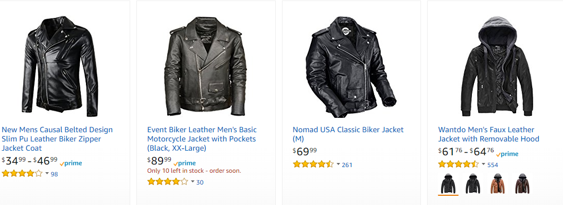Screenshot showing leather jackets on amazon