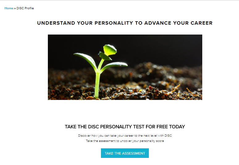 Screenshot of a link to the DISC personality test
