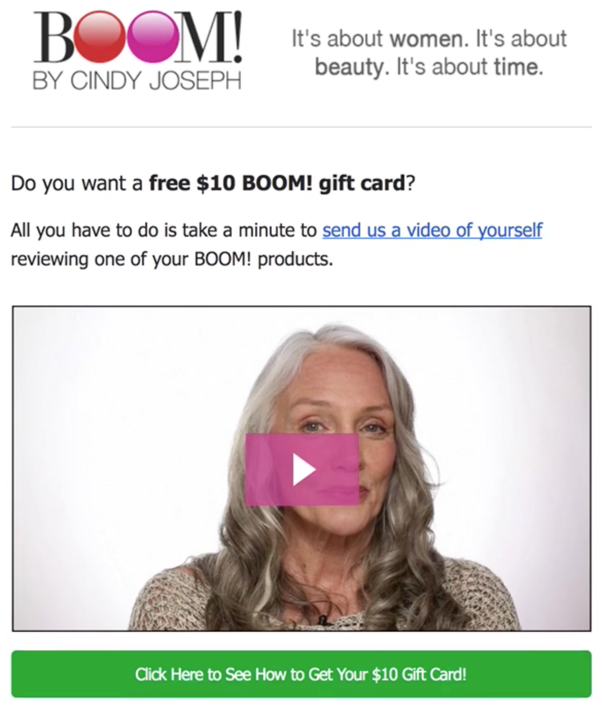 Screenshot showing a video review on BOOM! by Cindy Joseph