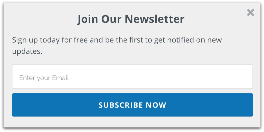 join our newsletter popup