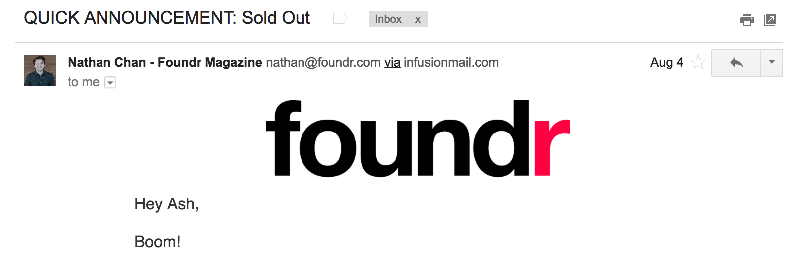 foundr email subject example