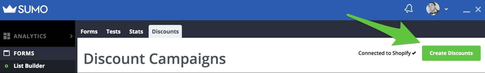 Screenshot showing Sumo new discount button