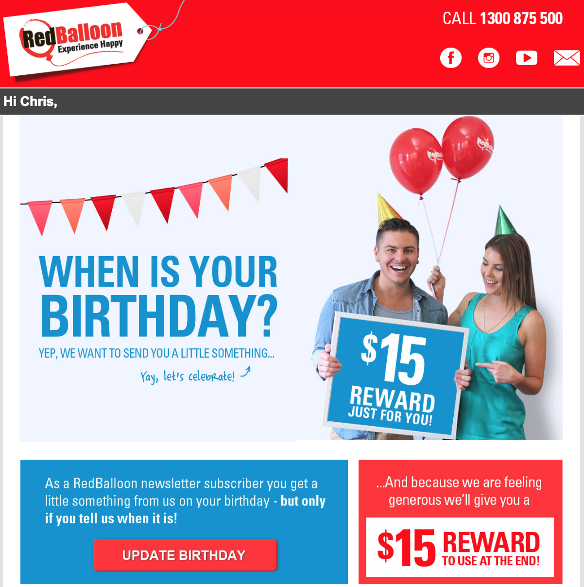 Screenshot showing an email by RedBalloon