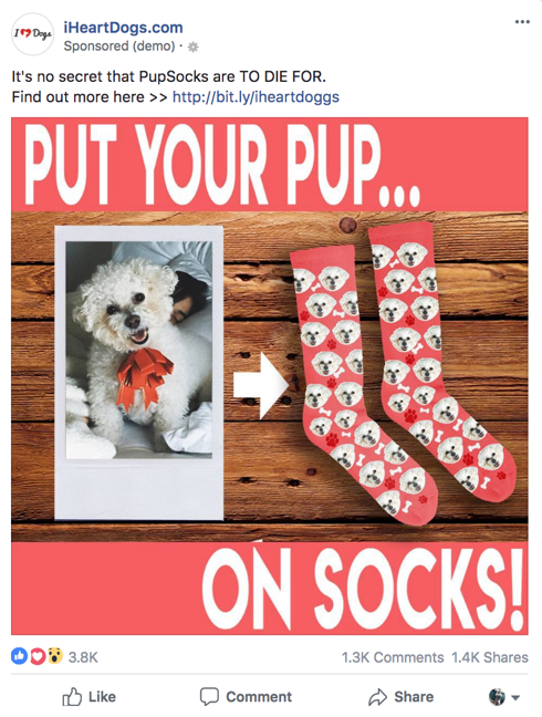 Screenshot showing a Facebook ad by iHeartDogs