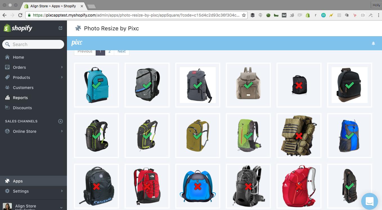 Screenshot showing a photo resize plugin for Shopify