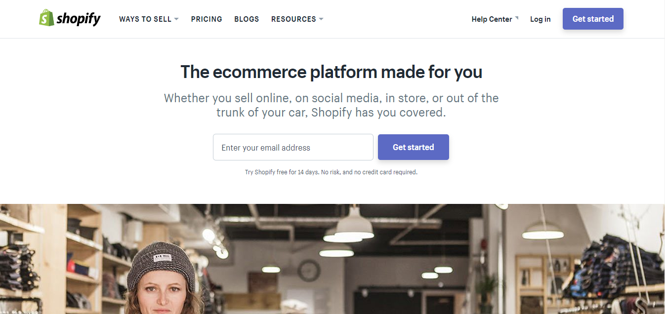 Screenshot showing a landing page on shopify