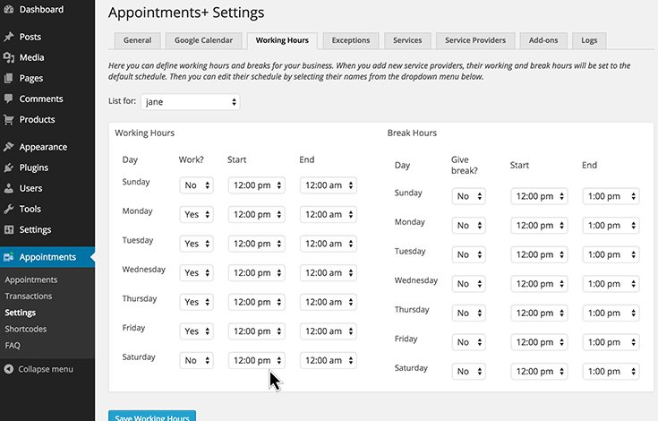Screenshot of an appointments plugin on the wordpress dashboard