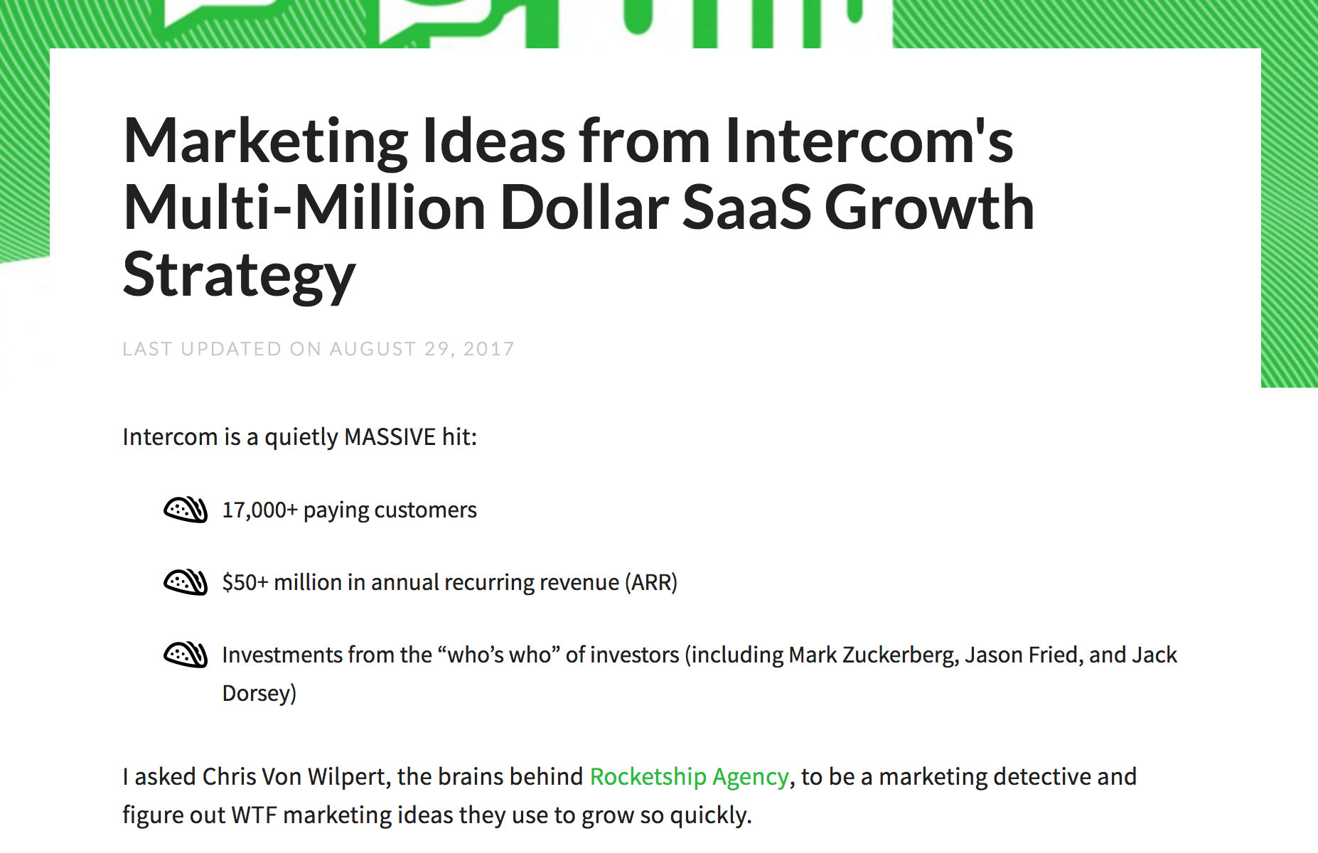 Screenshot showing a blog post