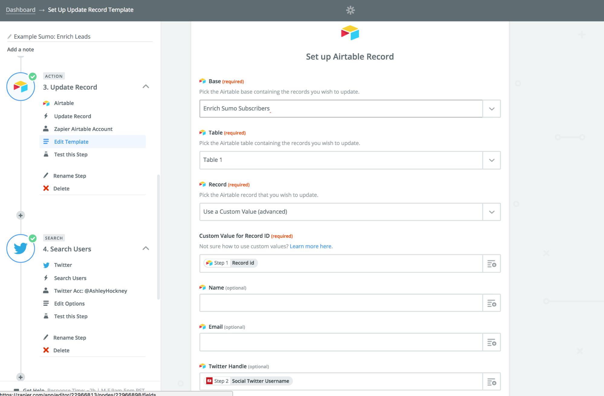 Screenshot showing a zap setup page
