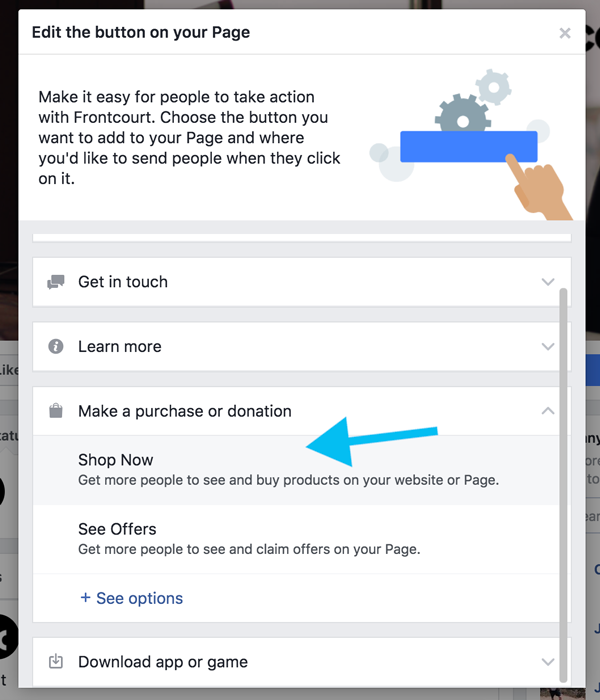 Screenshot showing settings for a Facebook page