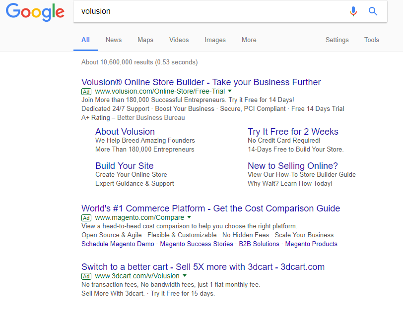 "Screenshot showing search results for ""volusion"""