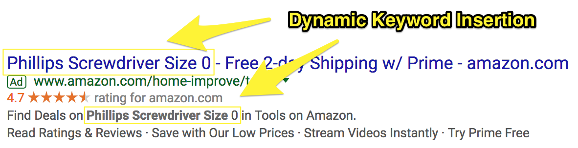 Screenshot showing dynamic keyword insertion on an amazon ad