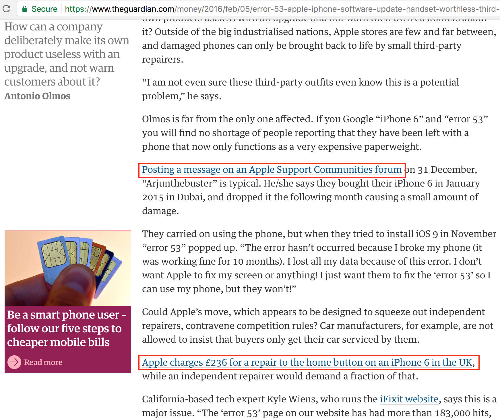 Screenshot showing an article about apple