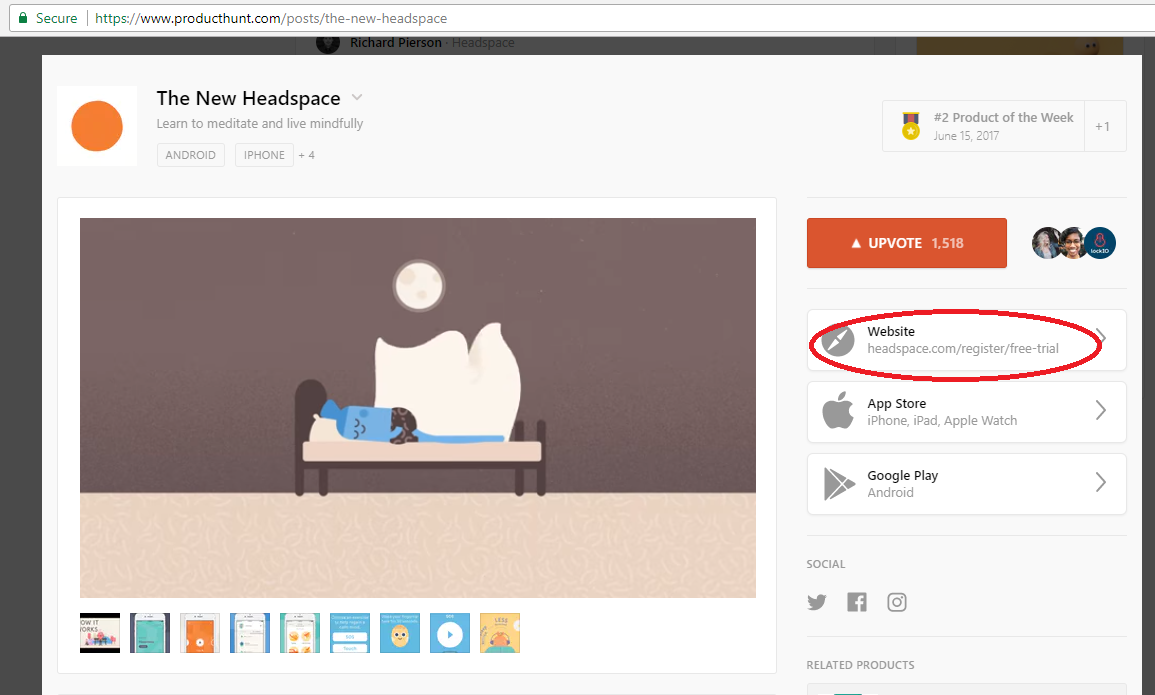 Screenshot showing an external link on a producthunt page
