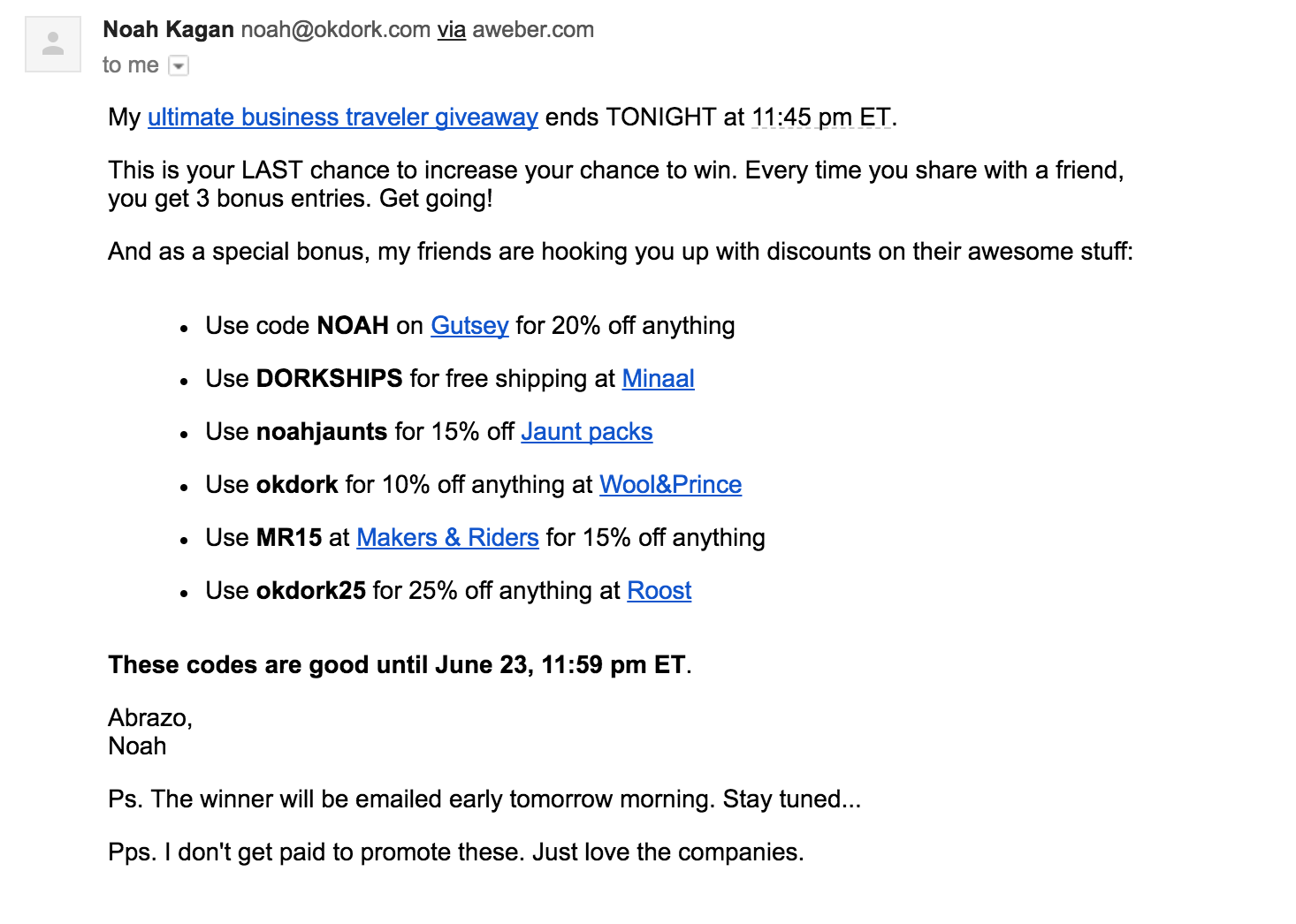 Screenshot of a promotional email sent by Noah Kagan