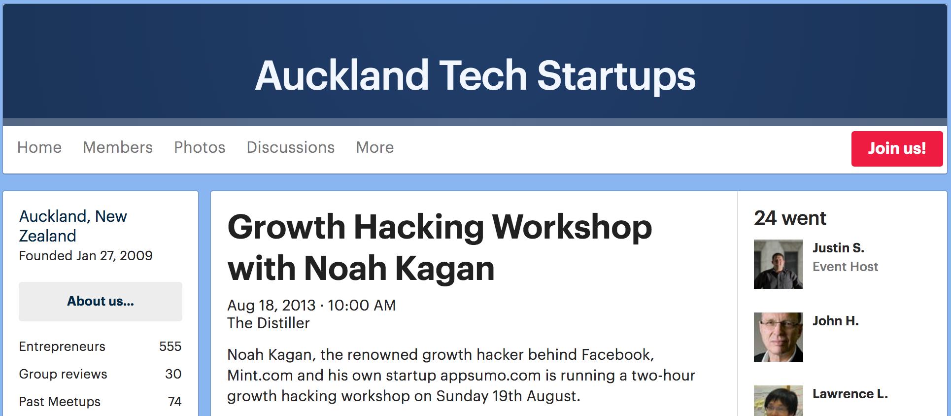 Screenshot showing a speaking event featuring Noah Kagan