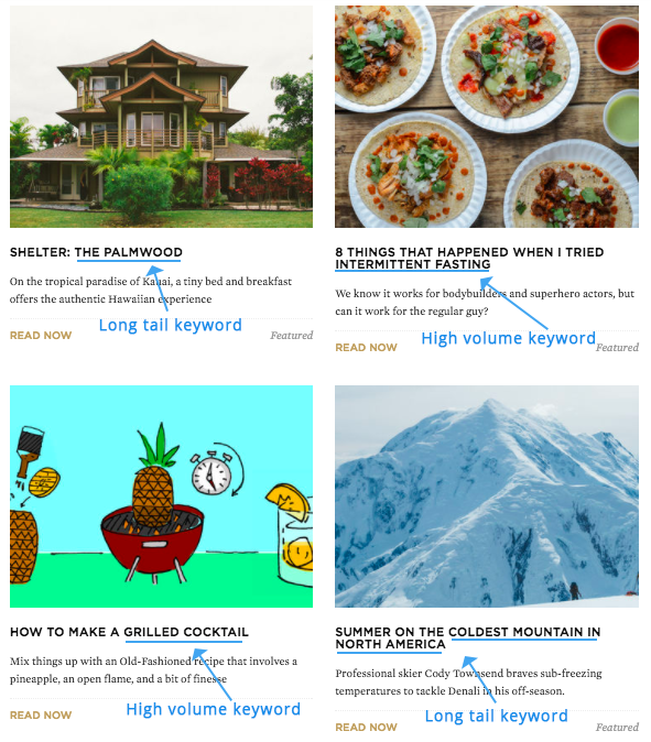 Screenshot showing four different articles