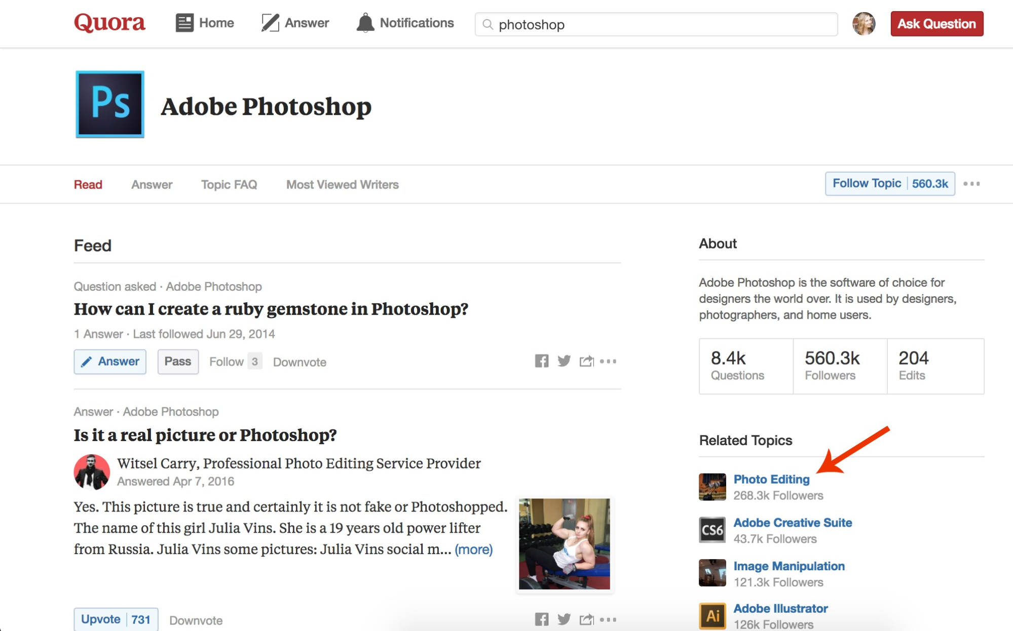 Screenshot showing a category on Quora