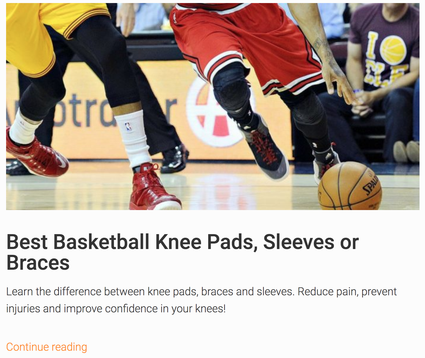 Screenshot showing an article about basketball knee pads