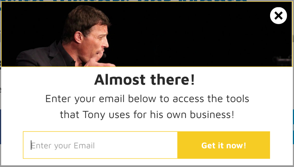 Screenshot of a content upgrade on Tony Robbins