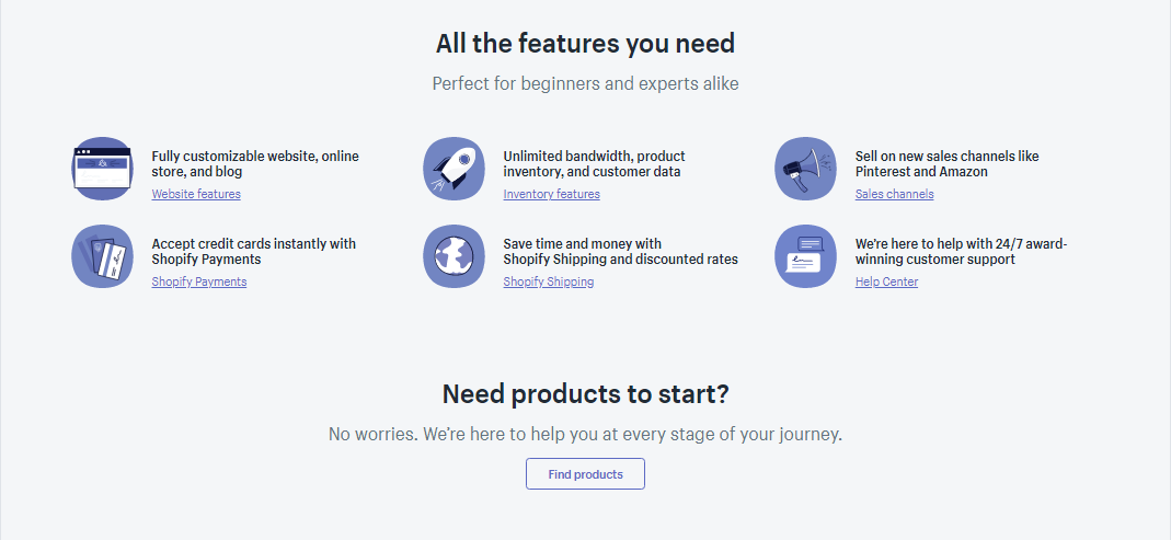 Screenshot of a features section by shopify