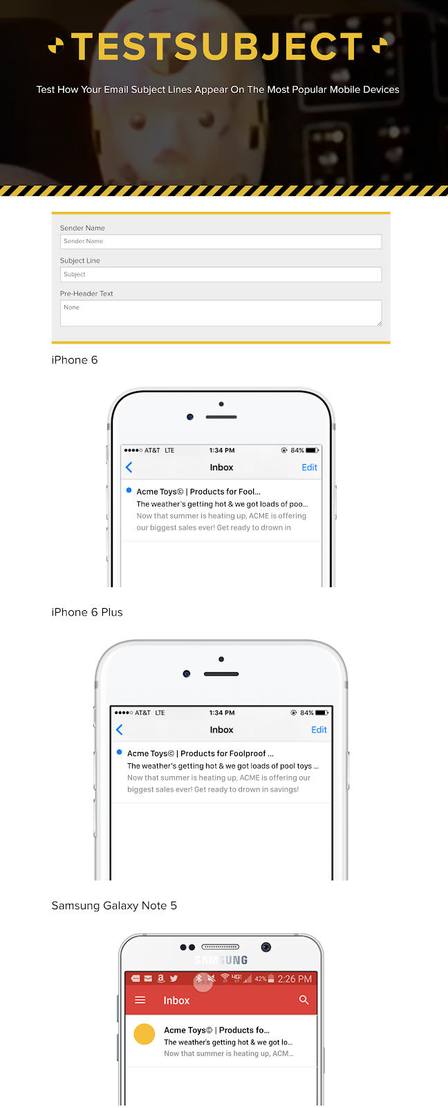 Screenshot showing a tool that shows how email titles look on different devices