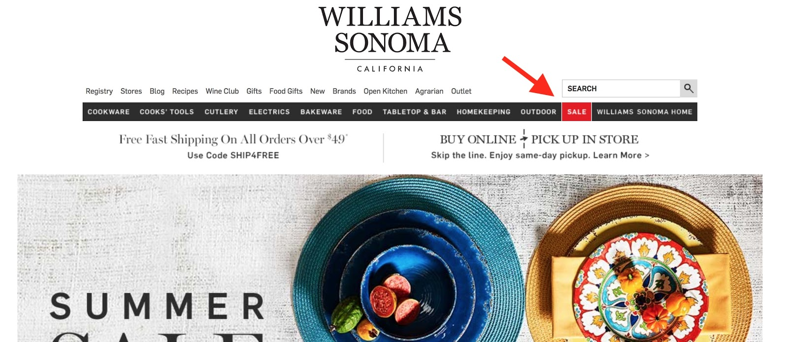 Screenshot showing Williams Sonoma