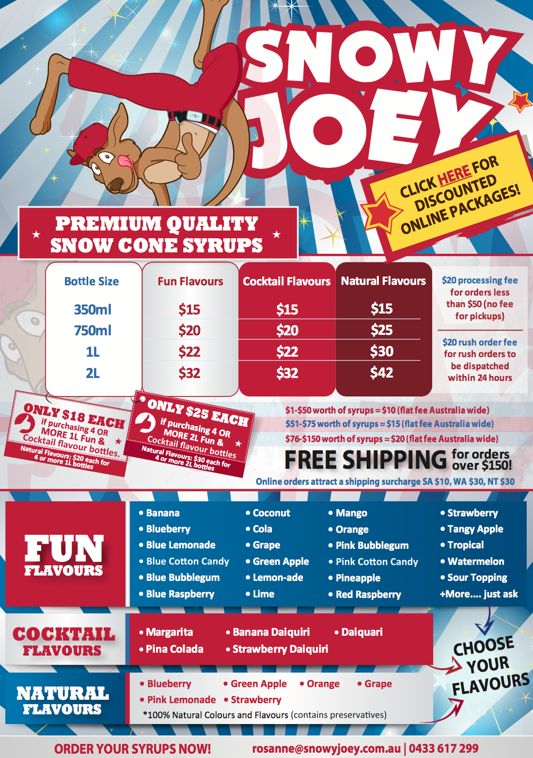 Screenshot showing a flyer for Snowy Joey